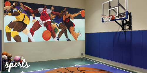 Sports murals 2017 grasscloth wallpaper for Basketball mural wallpaper